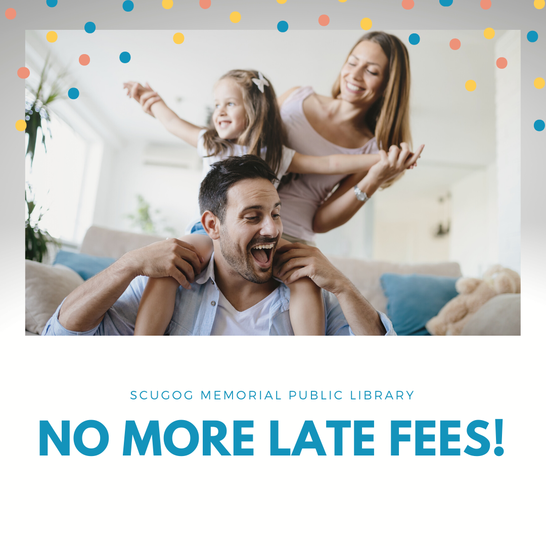 family celebrating with no more late fees text